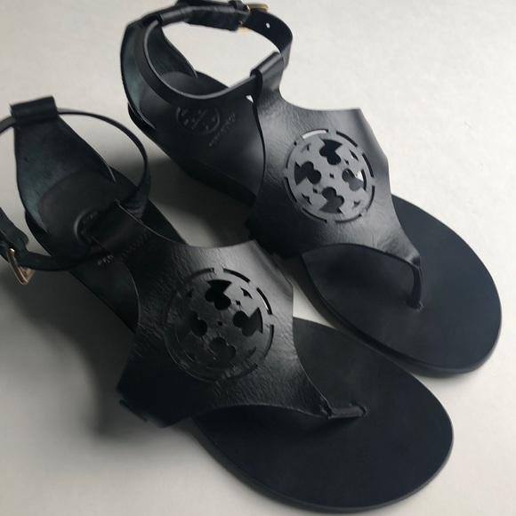 aef15352f Tory Burch Black zoey Wedge thong sandals 7.5. M 5ae38bffd39ca2934ca6b0cb